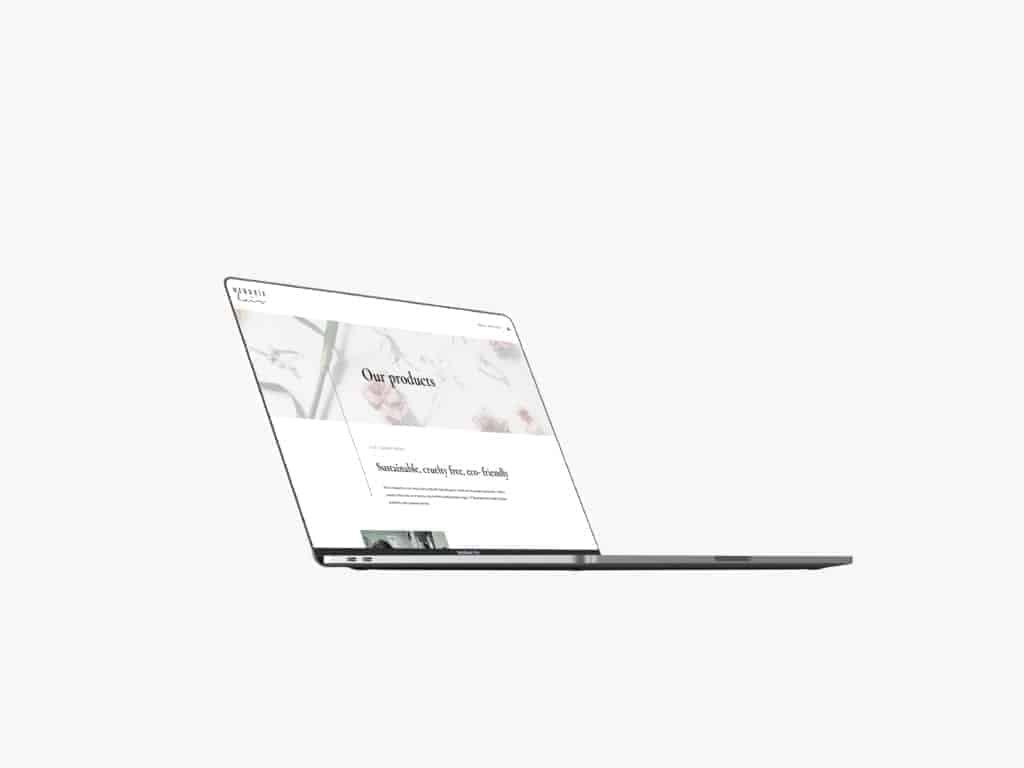 Laptop mockup with website on screen