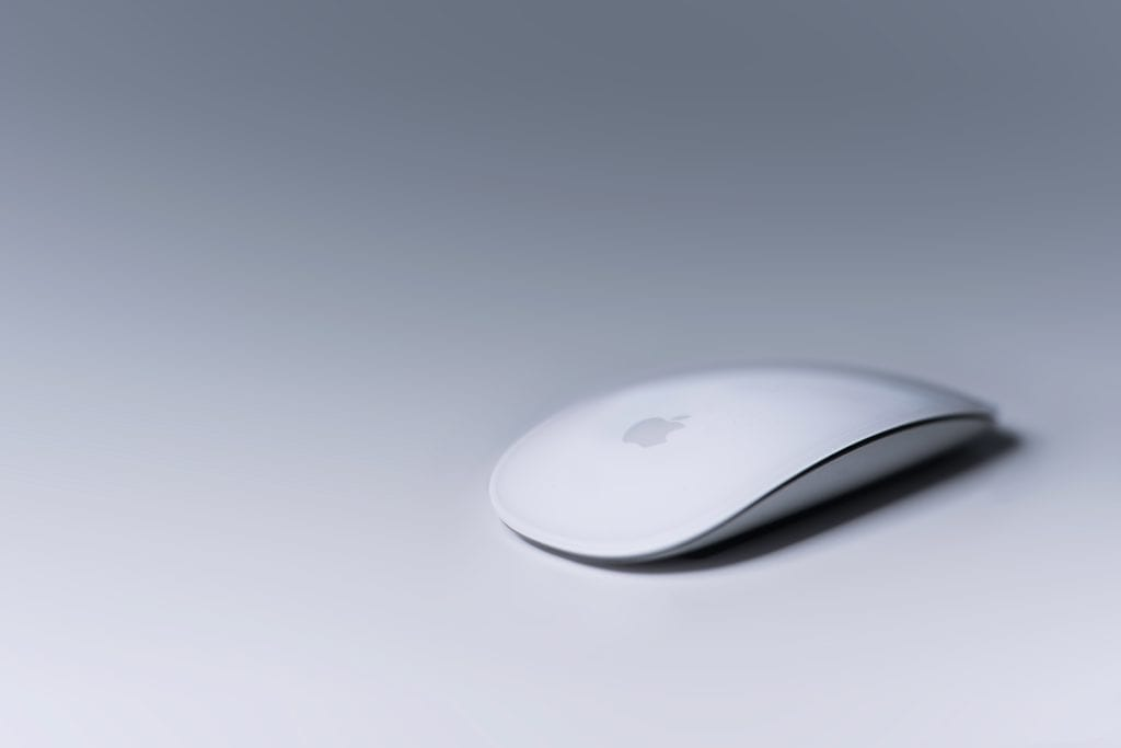 Apple mouse on white background